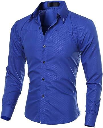 ECOSWAY Camisas Casuales para Hombres Nueva Camisa de Vestir de Moda Tops Ropa de Hombre - Lago Azul, 2XL: Amazon.es: Hogar