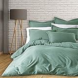 New Season Home French Linen Duvet Cover Set, Queen, Forest Green, 3 Piece