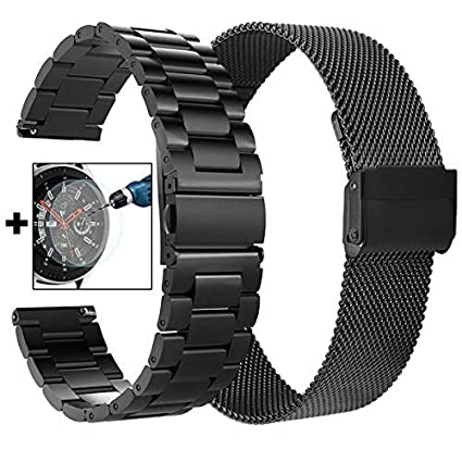 CAGOS Galaxy Watch 46mm/Ticwatch Pro Bands, Solid Stainless Steel Metal + Milanese Loop Mesh Strap Replacement Band for Ticwatch Pro/Galaxy Watch 46mm ...