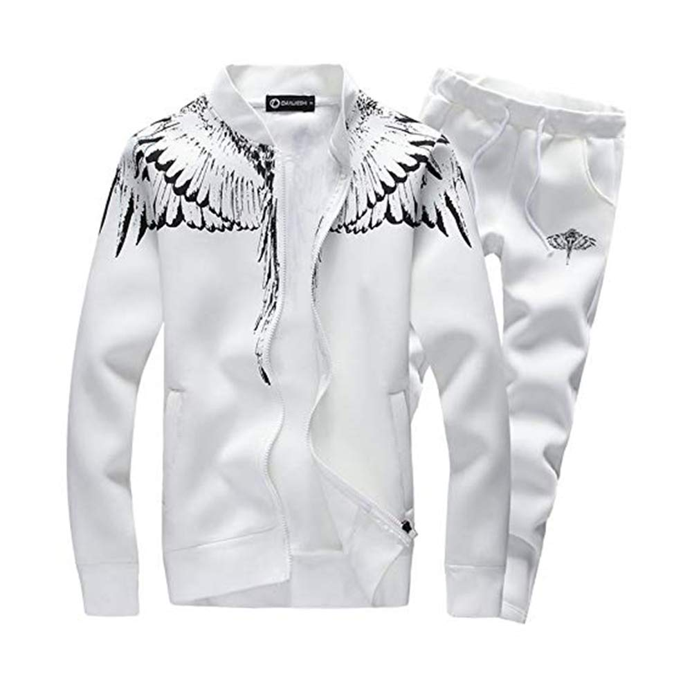 White Medium Mens Tracksuit Feather Wings Fashion Warm Up Jog Suit with Clothes and Pants