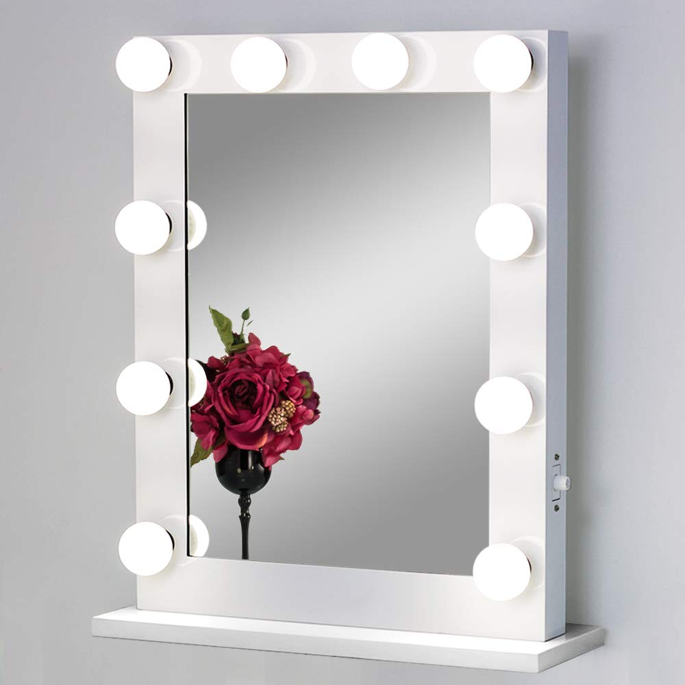 White,6550 Toyswill Tabletop Lighting Vanity Mirror,Hollywood Style Makeup Mirror,Wall Mounted Lighted Beauty Mirror,Free LED Dimmable Bulbs,Unique Festival (White,6550)
