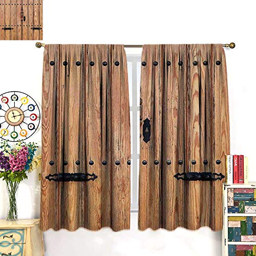 WinfreyDecor Rustic Customized Curtains Wooden Door with Iron Style Padlock Gate Exit Enclosed Space of Building PictureBlackout curtainPale Brown. W55 x L63 ()