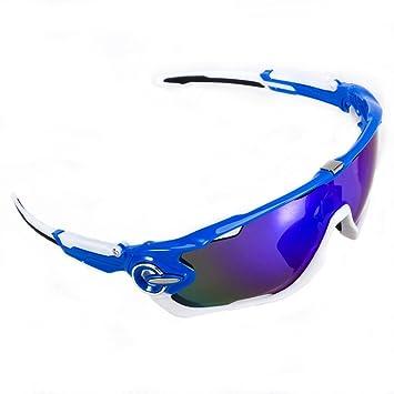 GIEADUN Road Mountain Ciclismo Gafas Gafas de Ciclismo polarizados Gafas de Sol Bicicleta, con 5 Lentes Intercambiables (Azul y Blanco): Amazon.es: Deportes ...