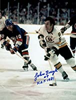 Johnny Bucyk Autographed Boston Bruins 8x10 photo HOF 981 inscription