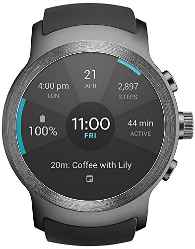 LG Watch SPORT Wi-Fi  Unlocked GSM Smartwatch w 1.38-inch P-OLED Display - Titan  Silver