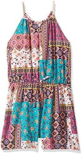 Zunie Big Girls' Sleeveless Challis Quilt Pattern Romper with Tie Waist