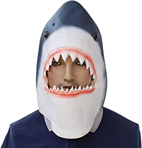 Shark Mask Novelty Halloween Costume Party Latex Animal Head Mask for Special Occasion