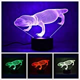 3D Lizard Night Light USB Touch Switch Decor Animal Lamp Table Desk Optical Illusion Lamps 7 Color Changing Lights LED Table Lamp Xmas Home Love Brithday Children Kids Decor Toy Gift