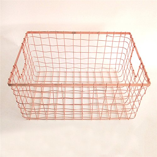 Multi Function Grid Basket Nordic Elegant Rose Gold Wire Net Baskets Metal Display Rack Basket Rectangle Size: 302015.5CM