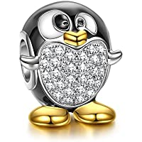 NINAQUEEN Animal Fever Collocation 925 Sterling Silver Penguin Gold Plated Bead Christmas Charms Gifts with 5A Cubic Zirconia for Brand European Bracelets