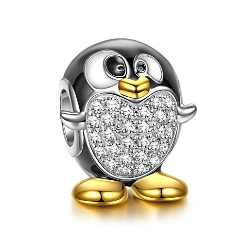 NINAQUEEN 925 Sterling Silver Penguin Animal Bead Charm for European Pandöra Charms Bracelets Birthday Anniversary for Her Teen Girls Kids Women Wife Daughter Mom Niece Sisters