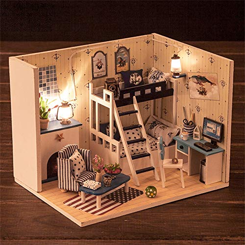 Miniature Dollhouse Kit Decorations with Lights and Furnitures DIY House Craft Kits Best Birthdays Gifts for Boys and Girls Puzzle Dollhouse Handcraft Assembled Toy Gift Christmas (As shown)