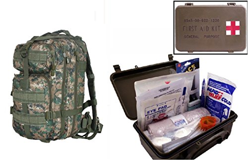 Ultimate Arms Gear Level 3 Assault Molle Marpat Woodland Digital Camo Backpack Kit   First Aid Trauma Kit General Purpose In Waterproof Carrying Storage Case  Usa Made  Fully Stocked 58 Piece Kit