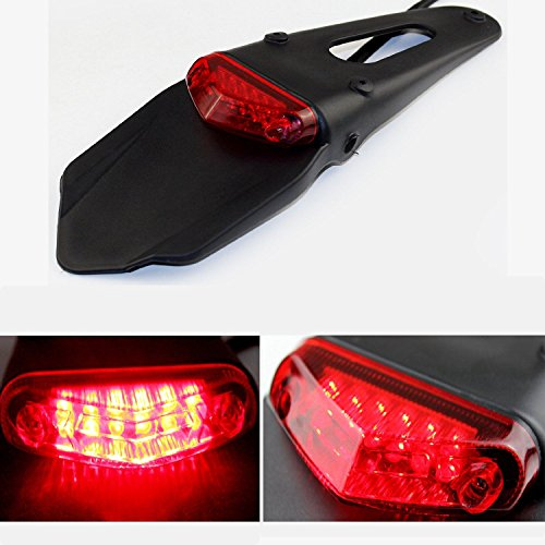 Triclicks LED Motorcycle Rear Fender Brake Tail Light For Dirt Bike Dual Sport Motocross Off-Road (Red Lens)