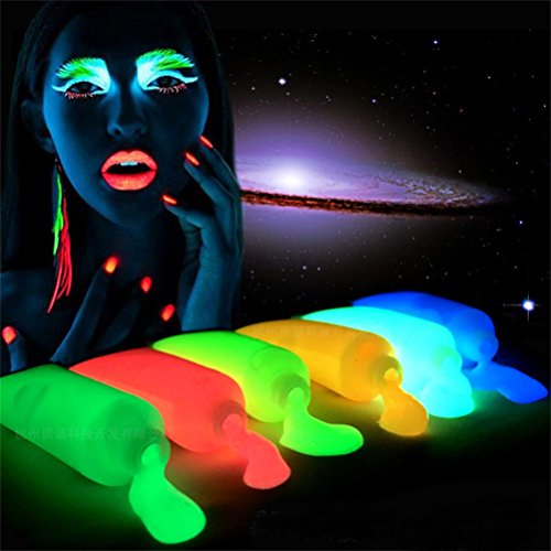 Iusun Halloween Christmas Glow In Dark Body Art Paint Luminous Face Body Makeup Paints (Funny Halloween Face Paint)