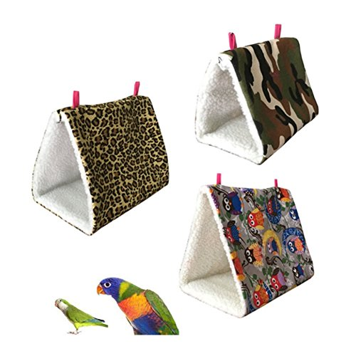 Stock Show 1Pc Small Animal House Winter Triangle Fleece Warm Hanging Sleep Cage Bed for Budgerigars Parrots Hamster/Guinea-pigs/Bunny/Rabbit/Squirrel and Other Small Animals, Leopard Print/Camo/Owl