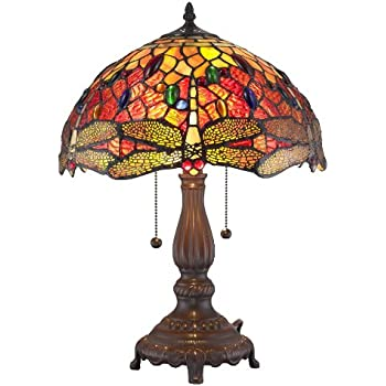 style yellow lamp product shipping table garden tiffany today home dragonfly free