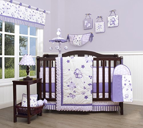 GEENNY Boutique newborn baby 13 Piece Nursery Crib Bedding Set, New Lavender