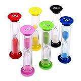 "miniature timer - Multicolor Sandglass Timer - Small Colorful Sandglass Sand Clock Timer Suit 30sec / 1min / 2mins / 3mins / 5mins / 10mins (6pcs) Tool for Kids at Home and School by ""wonder X"""