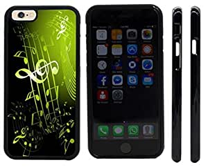 Rikki KnightTM Olive Green Music Notes Sheet Design iPhone 6 Case Cover (Black Rubber with front bumper protection) for Apple iPhone 6
