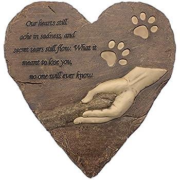 Pet Memorial Stones, Engraved Memorial Small Heart Garden Decoration Stone, Garden Stepping Stone - Pet Footprint, for Garden Decor Dog or Cat, Garden Backyard Marker Pets Grave Tombstone