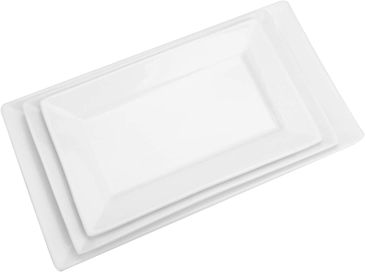 Suwimut 3 Pack Porcelain Serving Platters, Large White Rectangular Trays for Parties, Large, Medium, Small Size, Microwave And Dishwasher Safe