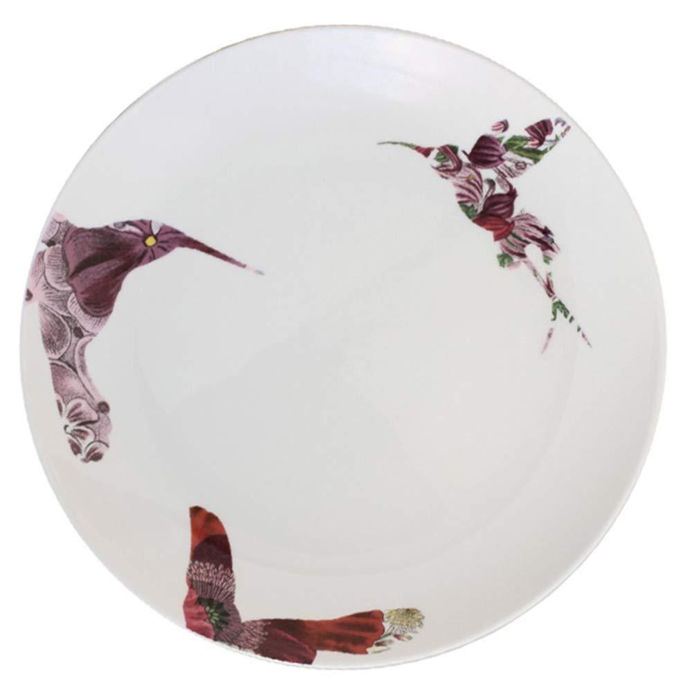 Happiness Tableware LIXUE Piatto Occidentale//Piatto di Fiori e Uccelli Piatto di Snack Piatto Creativo Piatto in Ceramica per Piatti in Porcellana Bone Bone da 4 Pezzi