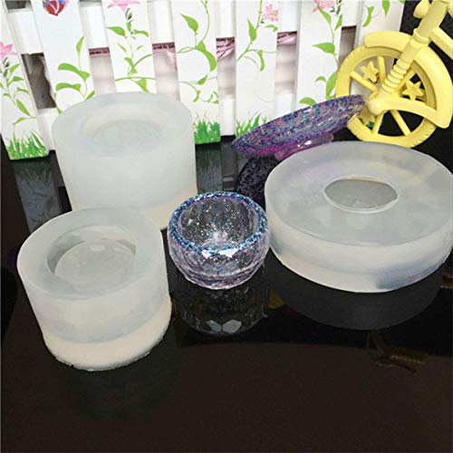 3pcs Clear Silicone Tea Bowl Shape Mold For Epoxy Resin Jewe