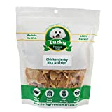 Lucky Premium Treats All Natural Farm Fresh Chicken Jerky For Dogs, Bits & Strips, 32oz Bag – By For Sale