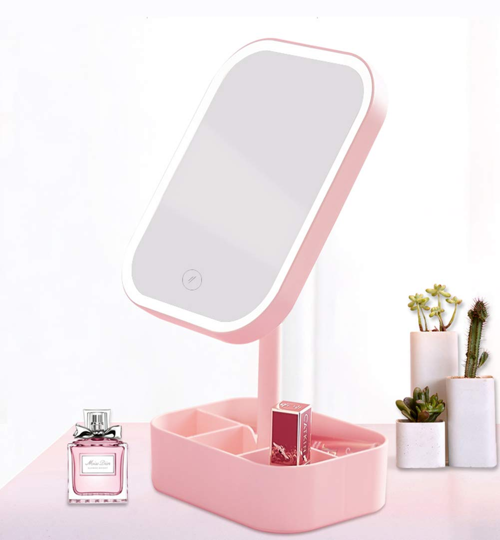 Pink Vanity Mirror, Desktop Mirror with Led Lighting, Portable, Suitable for Dormitory, Office, Bathroom