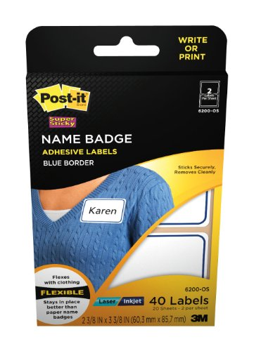 (Post-it(R) Name Badge Labels, 2-11/32 x 3-3/8 Inches, Blue Border (6200-OS))