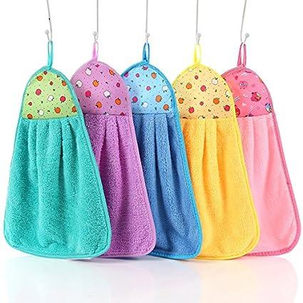 Toallitas pequeña toalla absorbente toalla de microfibra para cocina cuarto de baño, 5 unidades de