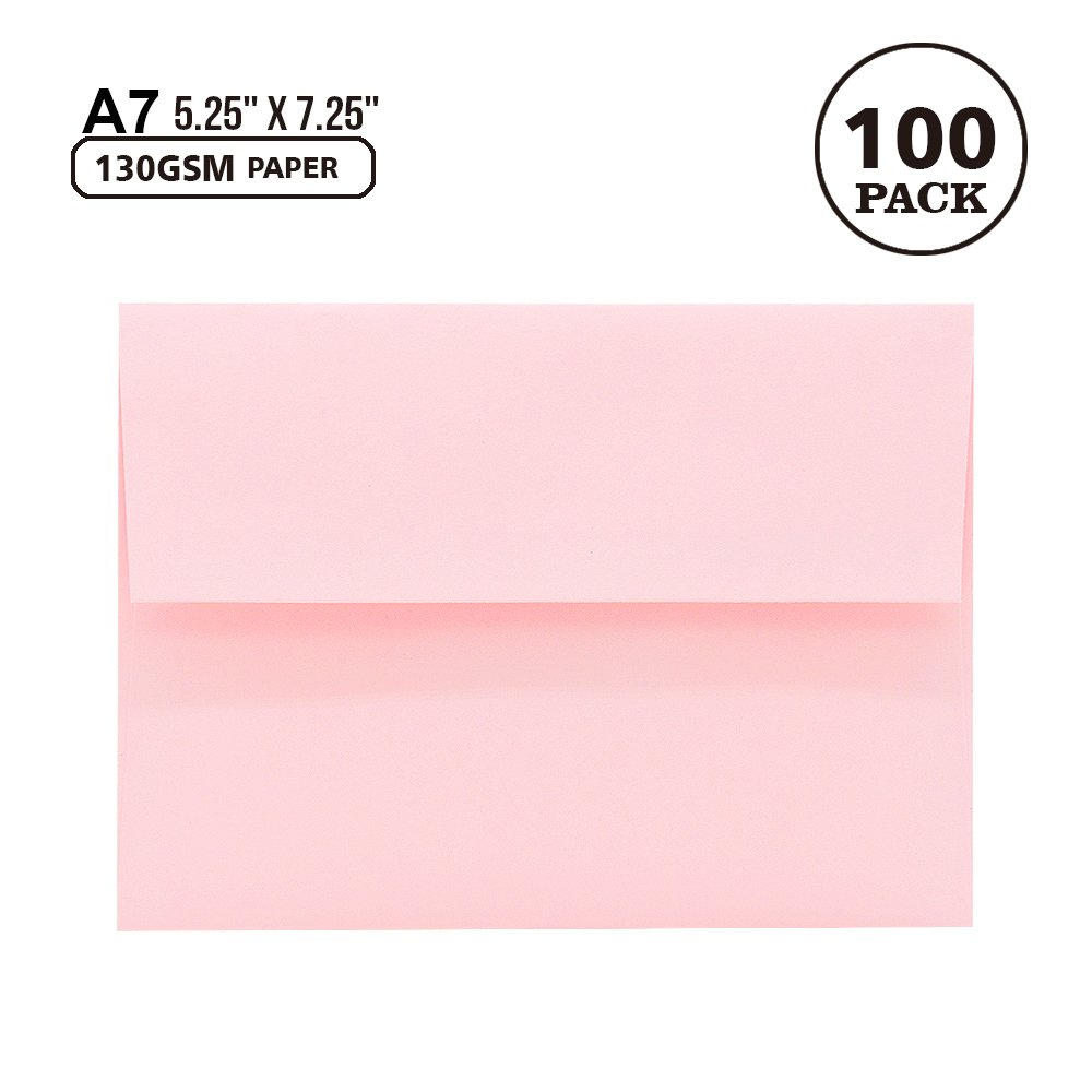 A7 Pink Invitation 5x7 Envelopes - Self Seal, Square Flap,Perfect for Baby Shower, 5x7 Cards, Weddings, Birthday, Invitations, Graduation, 5.25 x 7.25 inches, 100 Pack, (Pink)