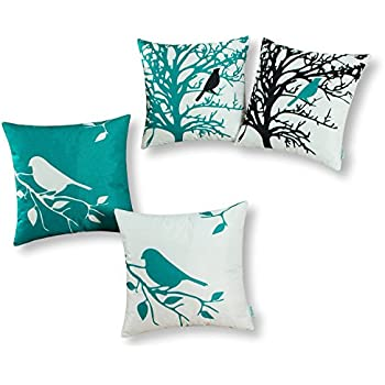 Set of 4, CaliTime Soft Canvas Throw Pillow Covers Cases for Couch Sofa Home Decor, Shadow Bird Tree Branches, 18 X 18 Inches, Teal