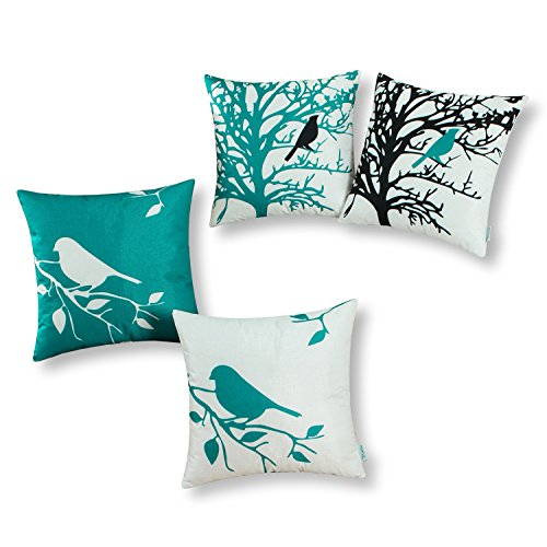 CaliTime Set of 4 Soft Canvas Throw Pillow Covers Cases for Couch Sofa Home Decoration Shadow Bird Tree Branches Silhouette 20 X 20 Inches Teal (Ornaments Room Turquoise For Living)