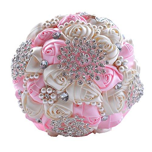 Wedding Flowers Bridal Bouquets Elegant Pearl Bride Bridesmaid Wedding Bouquet Crystal Sparkle (pink)