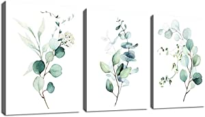 """Green Leaf Wall Art Bathroom Wall Decor Watercolor Eucalyptus Canvas Pictures Modern Bohemia Botanical Canvas Artwork Conemporary Minimalism Wall Art Prints for Bedroom Living Room Wall Decor 12"""" x 16"""" x 3 Pieces"""