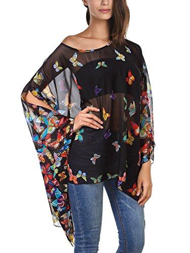Tops FASHION Imprime Shirt Noir Chauve Manches Blouse DJT Femme Tulle Souris T wASqIRX