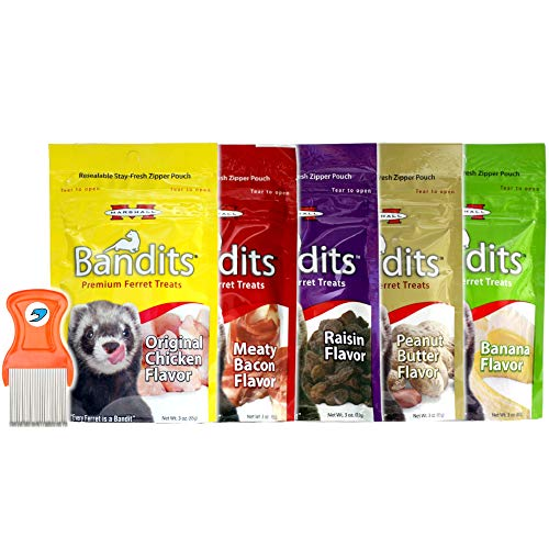 (Pack of 5 - Marshall Bandits Premium Ferret Treats Variety Pack Soft Chews - 5 Flavors - 3 Ounces Each - RandStar Mini Comb)