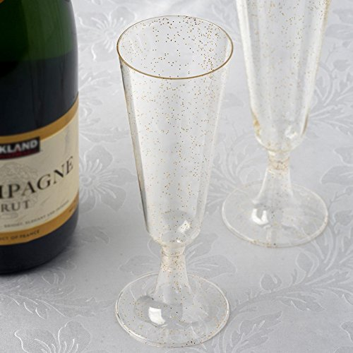 BalsaCircle 36 pc 7.2 oz Gold Glittered Clear Plastic Champagne Glasses - Disposable Wedding Party Catering Tableware