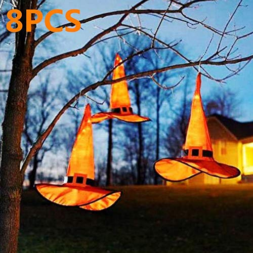 S WIDEN ELECTRIC 1/8Pcs Luminous Witch Hat for Adult, Halloween LED Hanging Lighted Glowing Witch Hats, Halloween Costume Party Accessories, 34 (Height) x37 (Outer Diameter)