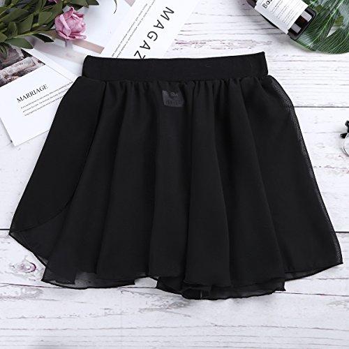 Freebily Kids Girls Dance Basic Classic Chiffon Mini Pull-On Wrap Skirt Black 7-8 by Freebily (Image #5)