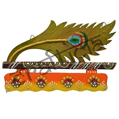 Crafticia Indian Craft Rajasthani Pink City Wooden Traditional Handmade Handicraft Spiritual Lord Ganesha Paper Mache Mor Pankhi Key holder Decorative Christmas Gift Item Home / Wall Decor Hanging (Key Holder Indian)