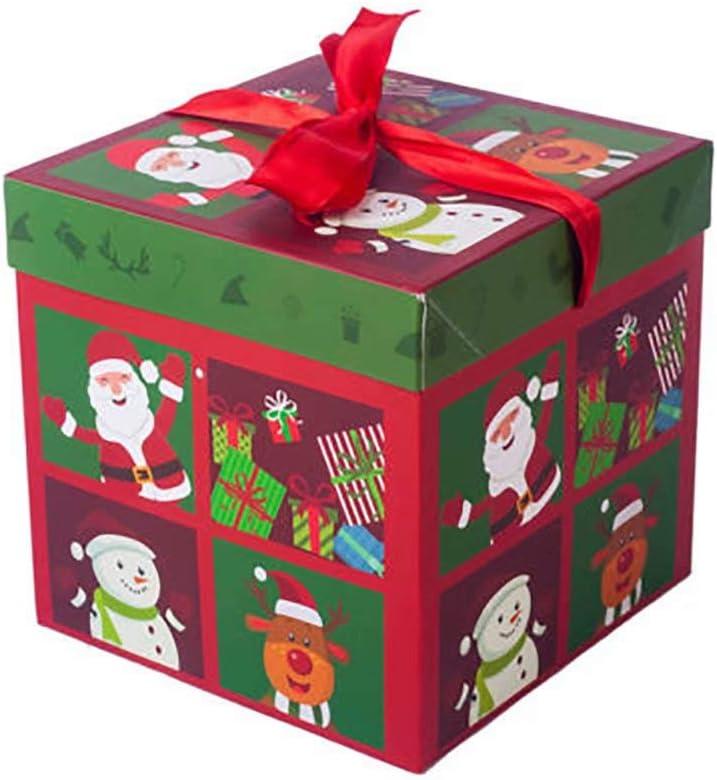 Fan Doria Caja de caja de regalo de Navidad árbol de Navidad Papá Noel Imprimir pequeñas y medianas regalo Cajas, color rojo-1 10cm: Amazon.es: Oficina y papelería