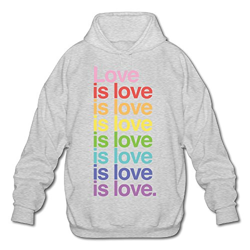 Love Is Love Love Love Men's Fleece Hoodie Adult Sweater Ash S (Devil Man Adult Vest)