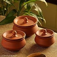 ExclusiveLane Handmade Earthen Clay Curd Pot Serving Handis with Lids (Set of 3)