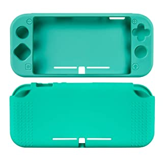 TNE Protective Cover for Nintendo Switch Lite Console Full Body Soft Silicone Case w/Tempered Glass Screen Protector (Turquoise)