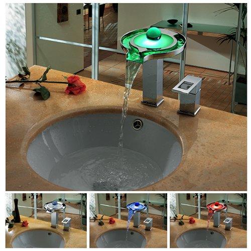 Cascada Single Handle Deck Mounted Bathroom Vanity Sink LED Faucet (Chrome Finish) (Cascada Vanity)
