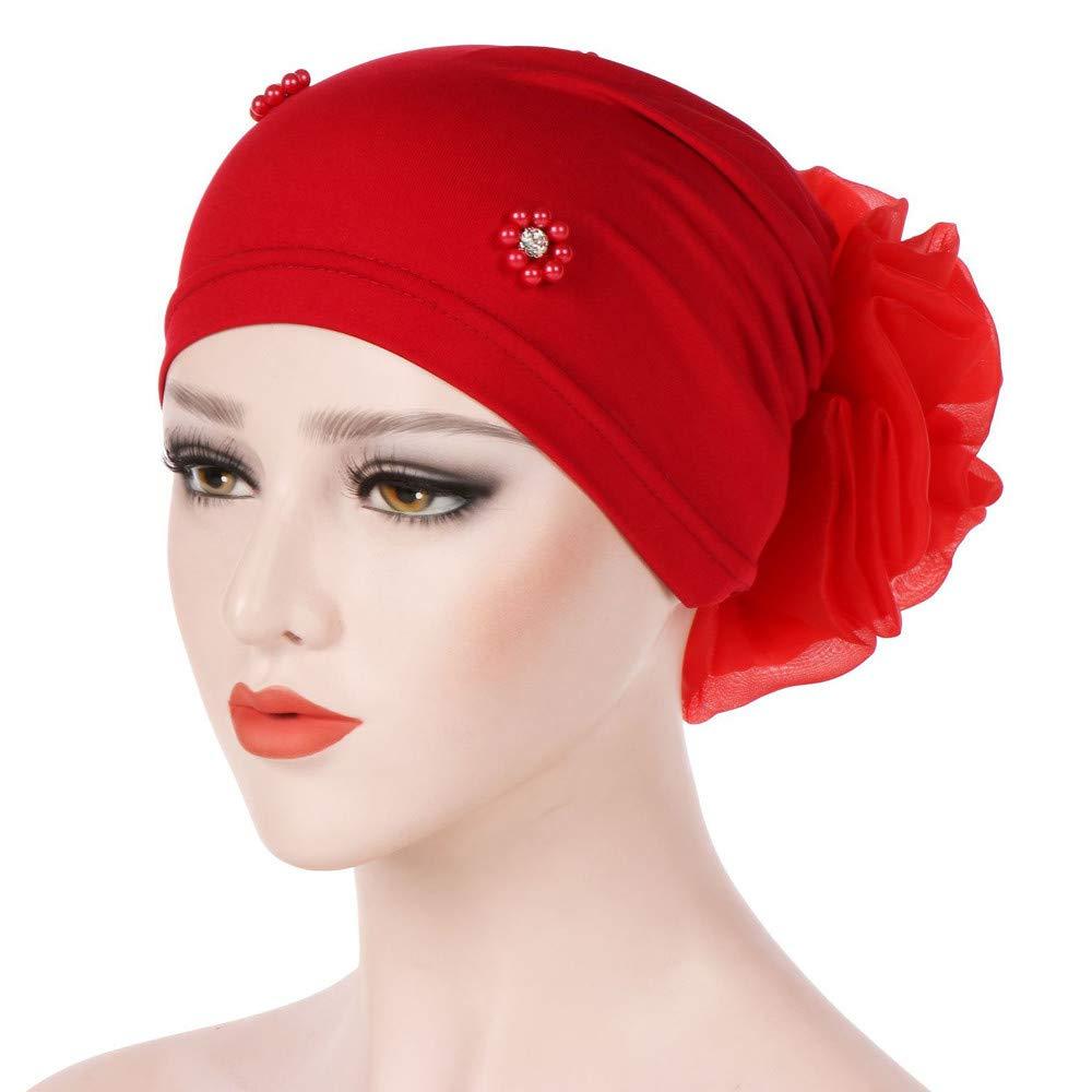 EnjoCho ❤Clearance Sale❤ 2018 New Women Stretchy Hat Turban Head Wrap Chemo Bandana Hijab Pleated Indian Cap (Black)