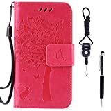 """Sony Xperia XA Case, SsHhUu Premium PU Leather Folio Wallet Magnetic Stand Card Slot Flip Protective Slim Cover Case + Stylus Pen + Lanyard for Sony Xperia XA F3113 (5.0"""") Rose"""